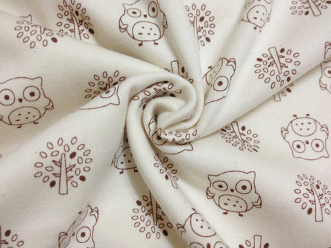 Organic Cotton Interlock Knit - Owls and Trees - By the Yard