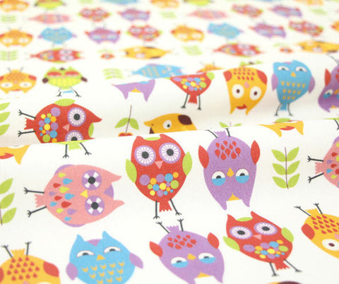 Cotton Interlock Knit Lovely Owls Owl Fabric By the Cut (33 x 35