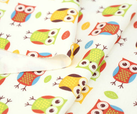 Cotton Interlock Knit - Cute Owls - Owl Fabric By the Cut (33 x 35