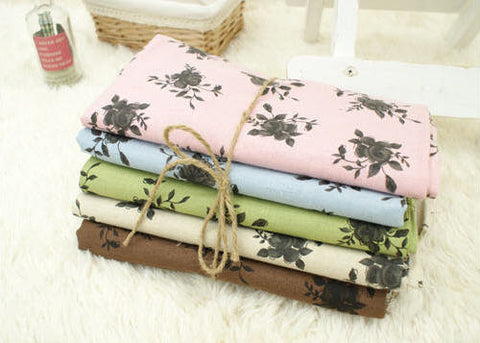 Black Roses Cotton Linen Blend - Green, Brown, Blue, Pink or Natural - 62