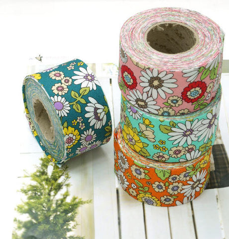4 cm Cotton Bias by the roll Colorful Flowers in 4 Colors 10 Yards 47852