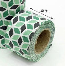 4 cm Cotton Bias by the roll Green Cubes 10 Yards 48310