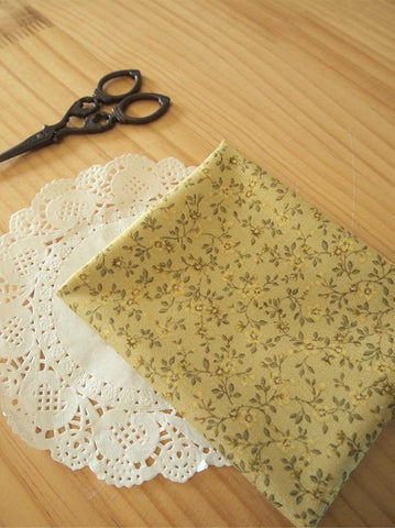 Cotton Fabric Vintage Mini Flowers - Mustard - By the Yard 48908