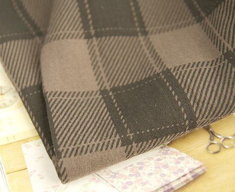 Checker Cotton Double Gauze - Choco - By the Yard 49040