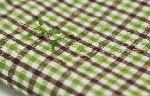 Laminated Cotton Fabric - Green Brown Check - By the Yard 49108