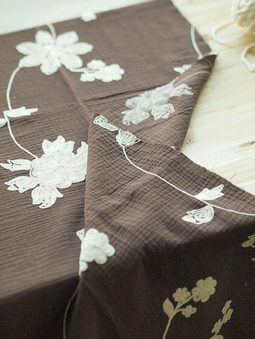 Cotton Double Gauze with Embroidered Flowers - Brown - 57