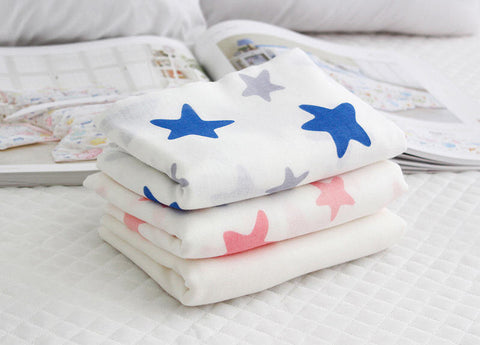 Bamboo Cotton Double Gauze - Stars - Blue or Pink - By the Yard (44 x 36