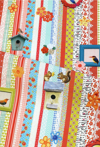 Cotton Fabric Panel - Knitting Bird Patchwork - By the Cut 51664