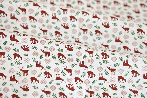 Deer in Forest Cotton Fabric - Brown - By the Yard 52325