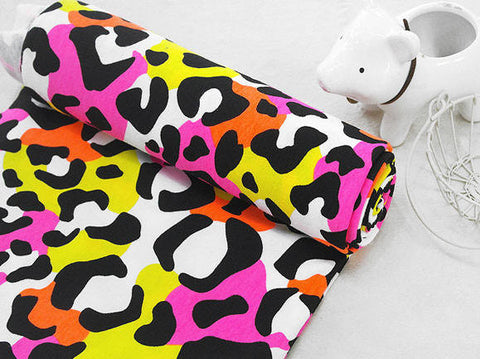 Lycra Cotton Knit Neon Leopard Print - Black - 4 Way Stretch 55560 - GJ - 196