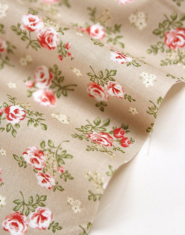 Beige Flower Cotton Fabric - Beige - By the Yard 52739
