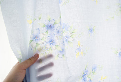 100% Linen Blue Flowers By the Yard 52890