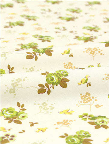 Cotton Interlock Knit - Flowers & Birds - Olive Green - By the Cut (33 x 35