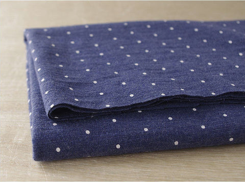 Mini Polka Dots Navy Cotton Knit - 64
