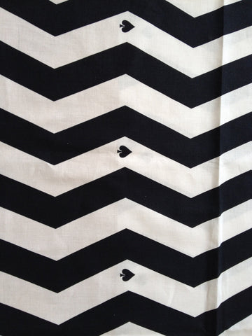 Chevron with Spade Black and White Patterns Cotton Fabric - Northern Europe Style - By the Yard