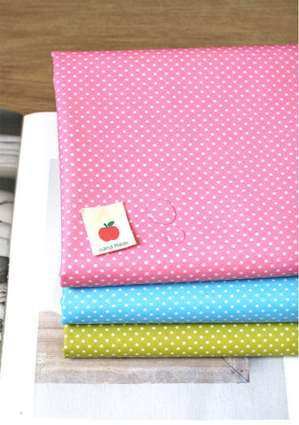 Laminated Cotton Blend Mini Polka Dots - Pink, Blue or Olive Green - By the Yard 52904