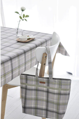 Laminated Cotton Fabric - Gray Plaid - By the Yard 52398