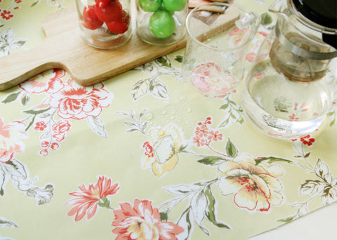 Laminated Cotton Fabric - Floral - Light Green - 44