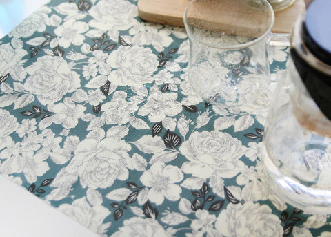 Laminated Cotton Fabric - Floral - Teal - 44