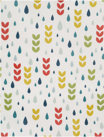 Colorful Raindrops and Flowers Cotton Fabric - By the Yard 54388