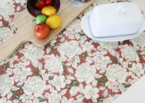 Laminated Cotton Fabric - Floral - Red - 44