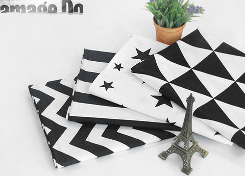 Black and White Cotton Fabric - Chevron, Stripe, Star or Triangle - Geometric By the Yard 41621