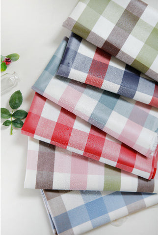 Laminated Cotton Fabric - Gingham Check - Choose From 6 Colors - 44