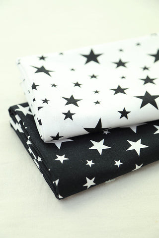 Stars Oxford Cotton Fabric and Coordinating Solid Colors - Black or White Ivory - By the Yard 57701 57702