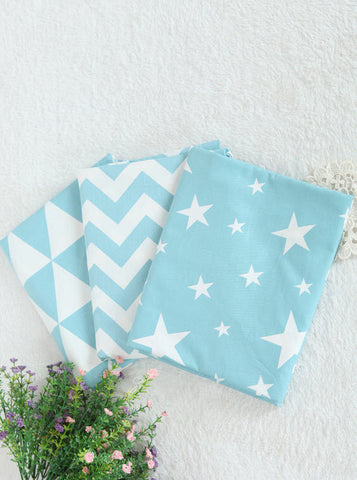 Chevron, Triangle and Stars Cotton Fabric - Mint - 62