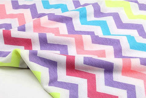 Colorful Chevron Cotton Rib Knit Zig Zag - 55