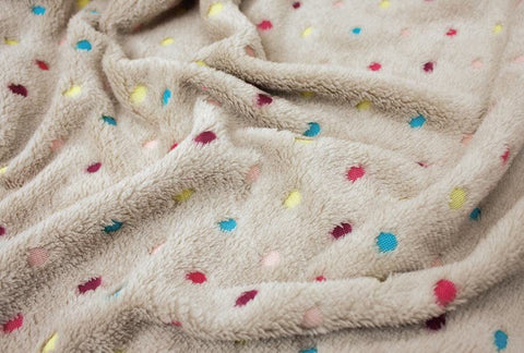 Beige Faux Fur with Colorful Dots - 68