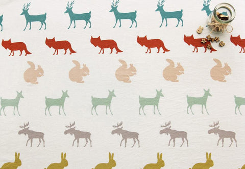 Forest Animals Cotton Fabric - Deer, Fox, Rabbit, Squirrel, Moose - By the Yard 68781