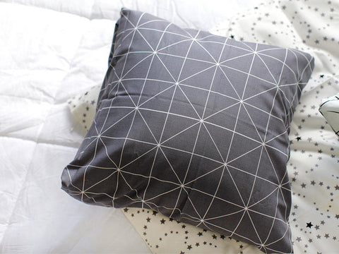 White Lines on Gray Cotton Fabric Geometric By the Yard 69055