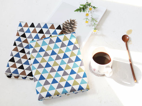 Triangles Oxford Cotton Fabric - Green Blue or Brown Black - Geometric Pattern - By the Yard 73126