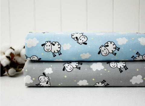 Cute Sheep Cotton Fabric - Blue or Light Gray - By the Yard 73917