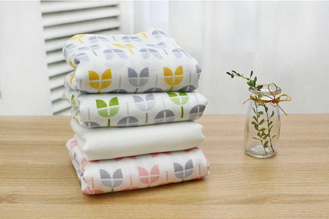 Bamboo Cotton Gauze - Tulips - Pink, Green, Yellow or Solid Off White - 44