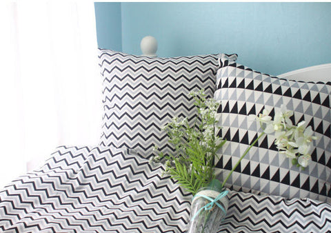 Geometric Cotton Fabric - Gray Black - Chevron or Triangles - By the Yard 75630