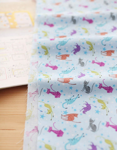 Cats and Stars Cotton Fabric Meow Meow - Blue - By the Yard 76587