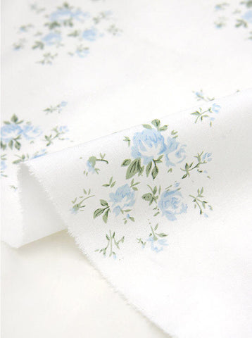 Blue Flowers Cotton Fabric By the Yard 76497