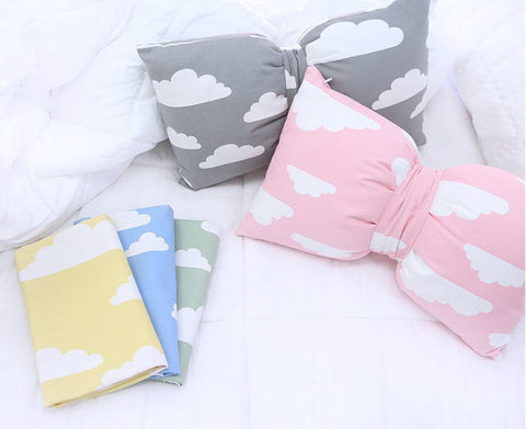 Cloud Cotton Rayon Fabric - Gray, Pink, Yellow, Blue or Green - By the Yard