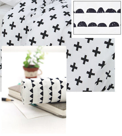 3 Yard Package Discount - Half Moon, Cross Sign and Mini Triangles Cotton Fabric - Black and White Fabric - Geometric #77777 (FEATURED!)