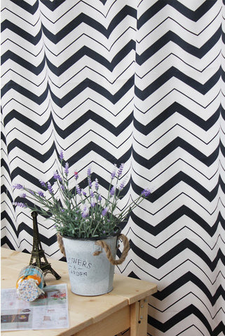 Chevron Cotton Fabric - Black and White - 62