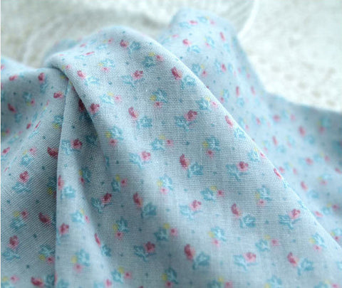 Cotton Double Gauze Petit Roses - Blue - 59