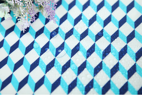 Laminated Cotton Fabric - Blue Cubes - By the Yard 81359