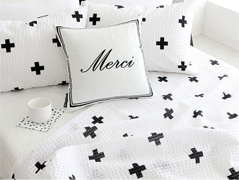 Cross Symbol Seersucker Fabric - Black on White - By the Yard 82277