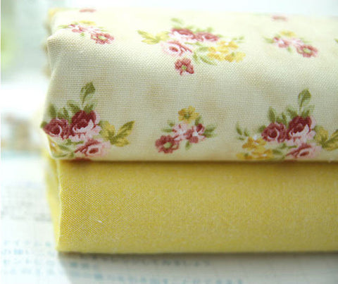 Yellow Flowers Cotton Fabric - Flowers or Solid - By the Yard 74176
