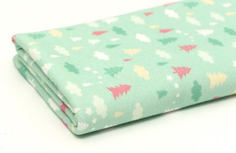 Cotton Knit - Cloud and Trees - Mint Green - By the Yard (31.4 x 36