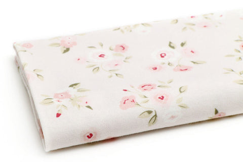 Cotton Knit - Roses - Pink - By the Yard (31.4 x 36