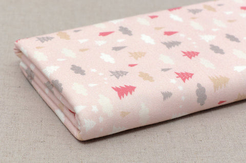 Cotton Knit - Cloud and Trees - Pink - By the Yard (31.4 x 36