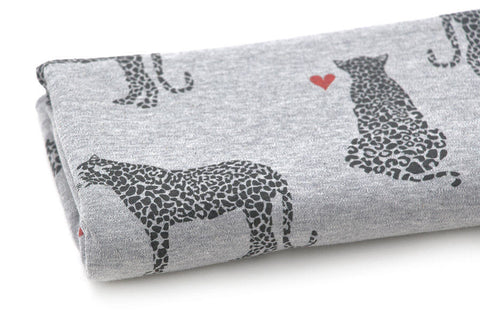 Cotton Interlock Knit - Cheetah - Gray - By the Yard (33 x 36